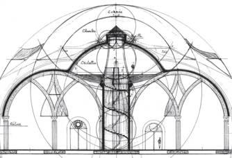 Plan du Chai du Château Romanin : Le Chai : une Cathédrale enterrée